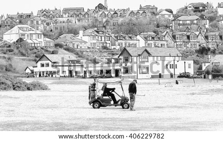 Digital pencil sketch from a photograph of golfers playing in front of the Clubhouse of West Kilbride Golf Club, an 18 hole links course located on the North Ayrshire Coast of Scotland - stock photo