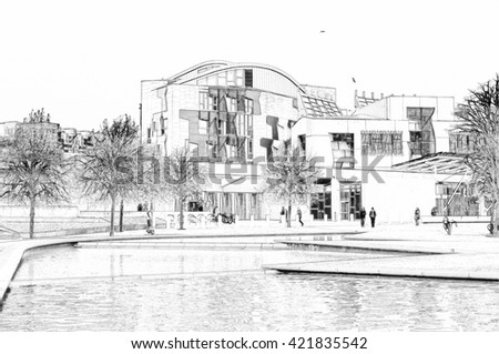 Digital pencil sketch from a photograph of the exterior of the Scottish Parliament Building, Holyrood, Edinburgh, Scotland, designed by the architect Enric Miralles - stock photo