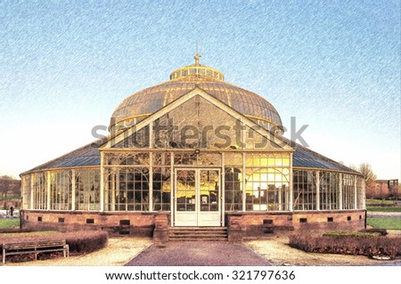 Digital pencil sketch from a photograph of the rear elevation of the Winter Gardens of the People's Palace, Glasgow Green,Glasgow, Scotland with a reflection in the glass of the city skyline at sunset - stock photo