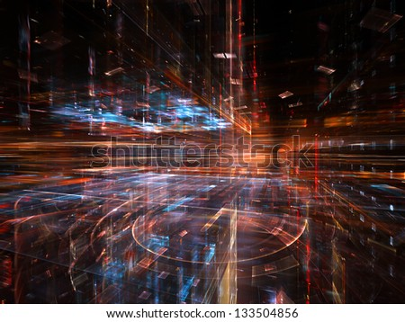 Digital Perspectives series. Arrangement of light grids and fractal elements on the subject of business, science, education and technology - stock photo