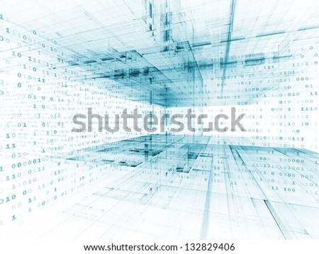 Digital Perspectives series. Composition of abstract grids and numbers suitable as a backdrop for the projects on business, science, education and technology - stock photo