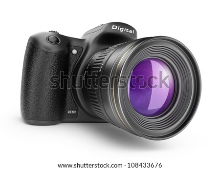 Digital photo camera. 3D Icon isolated on white background - stock photo