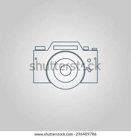 Digital photo camera Flat web icon, sign or button isolated on grey background. Collection modern trend concept design style  illustration symbol - stock photo