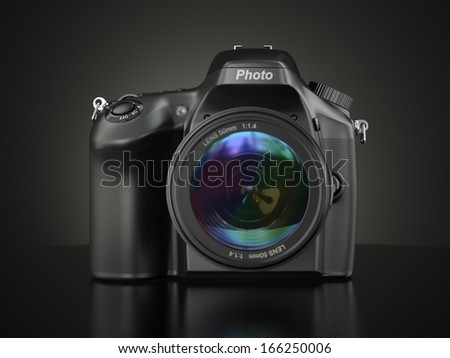 Digital photo camera on black background.  3d - stock photo