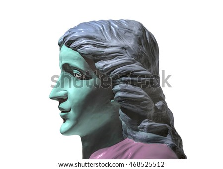 Digital photo manipulation technique colored classical style sculpture of young man with long hair and expressionless face
