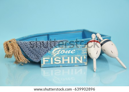 Digital Photography Background Of Blue Fishing Boat Prop Isolated On Blue