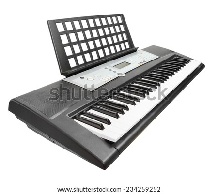 Digital piano synthesizer isolated on a white background. - stock photo