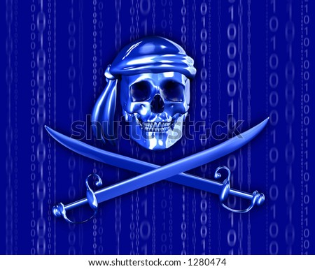 Digital Piracy - 3D render of a pirate skull with cross swords, with a binary background. - stock photo