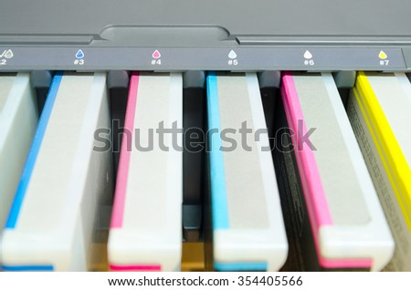 digital printing press cartridges closeup - stock photo