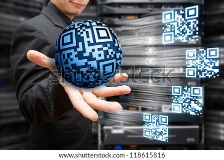 Digital QR code concept - stock photo