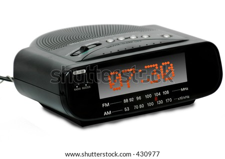 Digital Radio alarm clock -quarter view - isolated - stock photo