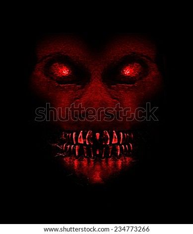 Digital raster illustration evil monster expression ape front view portrait in saturated red colors an black background. - stock photo