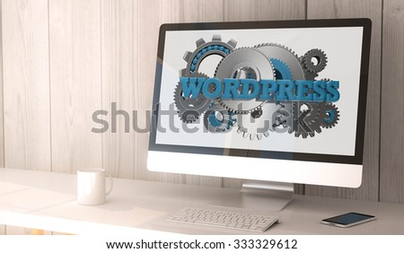 digital render generated workspace with computer and smartphone. Wordpress on screen. All screen graphics are made up. - stock photo