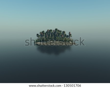 Digital render of a tropical island with palm trees. - stock photo