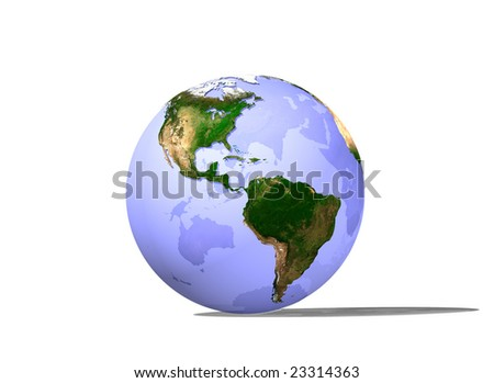 Digital render of continents on a slightly transparent globe.