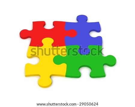 digital render of jigsaw pieces in four colors