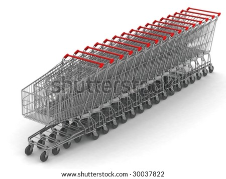 digital render of 16 shopping carts in line - stock photo