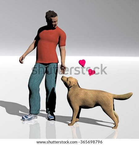 digital rendered illustration of a man and his dog