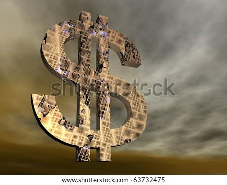 digital rendering of a dollar symbol - stock photo