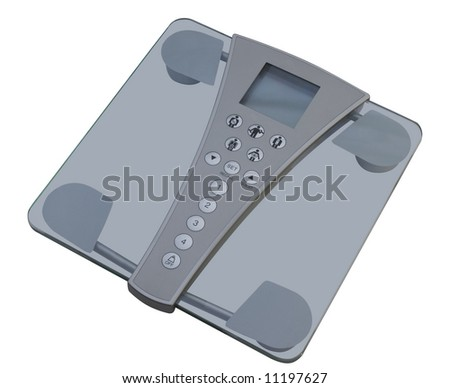 Digital scales and body composition monitor isolated on a white background - stock photo