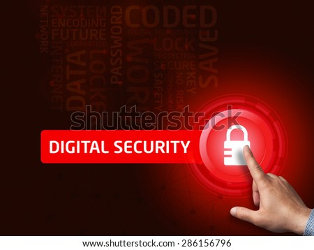 Digital security. Businessman presses a button on the virtual screen. Business, technology, internet and networking concept. - stock photo