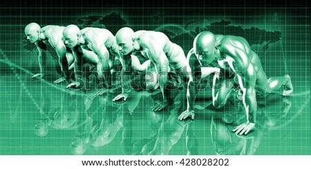 Digital Security Industry through Online Data Art 3D Illustration Render - stock photo