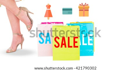 Digital shopping diagram on a white background against composite image of elegant woman with shopping bags - stock photo