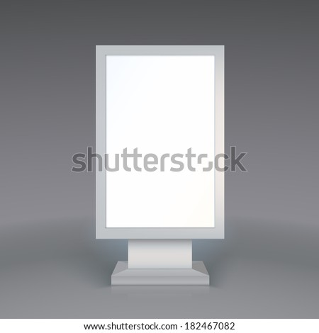 Digital Signage. Blank advertising billboard on gray background - stock photo