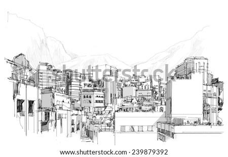 digital sketch of modern city.Illustration. - stock photo