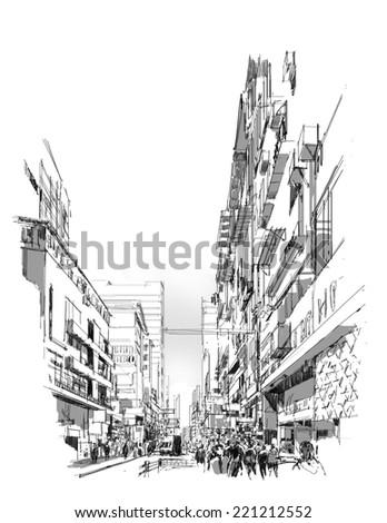 digital sketch of shopping street - stock photo