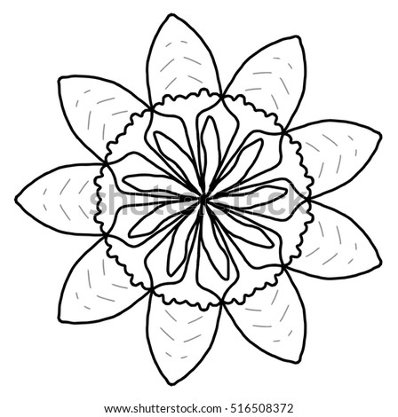 Digital sketch simple abstract flower, colourless or blank.