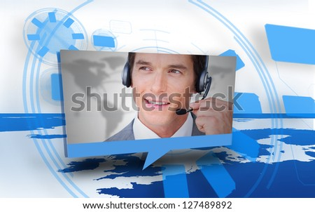 Digital speech box showing man in headset coming from world map in blue and white - stock photo