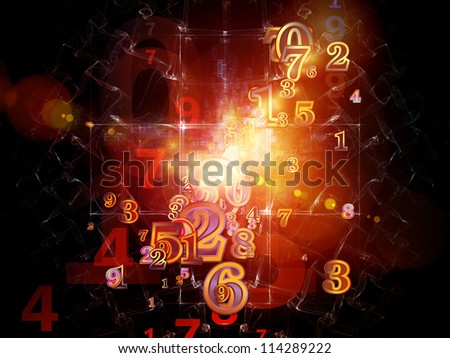 Digital Splash series. Design composed of numbers, gradients and fractal elements as a metaphor on the subject of mathematics, computers, science and modern technologies - stock photo