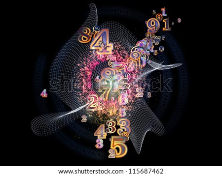 Digital Splash series. Visually attractive backdrop made of numbers, gradients and fractal elements suitable as element for layouts on mathematics, computers, science and modern technologies - stock photo