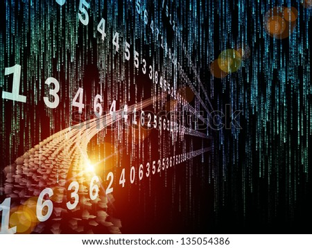 Digital Streams series. Composition of numbers, lights and design elements with metaphorical relationship to digital communications, data transfers and virtual reality - stock photo