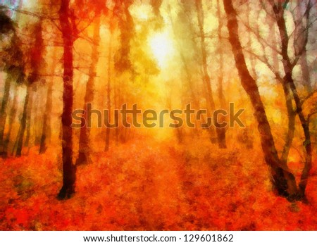 Digital structure of painting. Dawn in the woods - stock photo