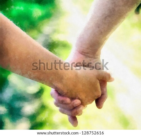 Digital structure of painting. Holding hands - stock photo