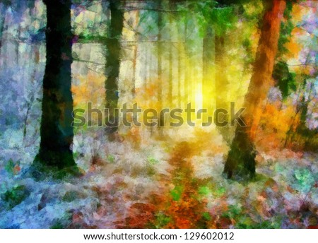 Digital structure of painting. Landscape in forest - stock photo