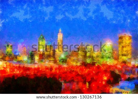 Digital structure of painting. Midnight cityscape - stock photo