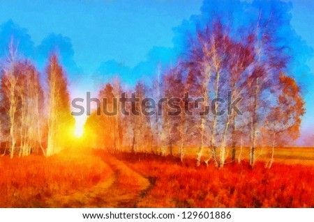 Digital structure of painting. Road in forest - stock photo