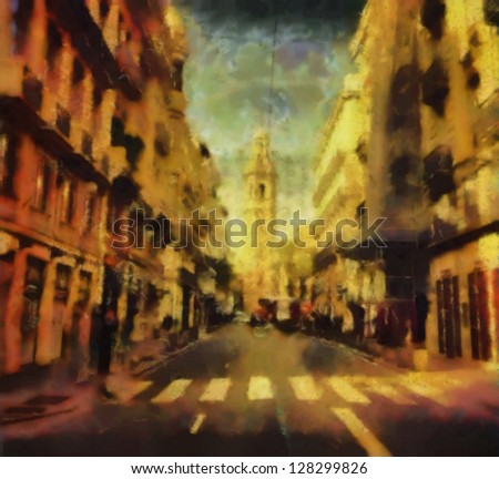 Digital structure of painting. Spanish street - stock photo