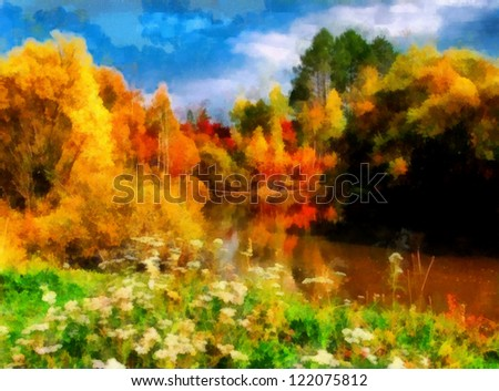 Digital structure of painting. Watercolor autumn landscape - stock photo
