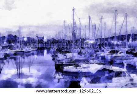 Digital structure of painting. Watercolor embankment - stock photo