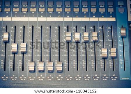 digital studio mixer faders - stock photo
