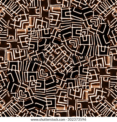 Digital style abstract geometric tribal intricate pattern in warm and black tones. - stock photo