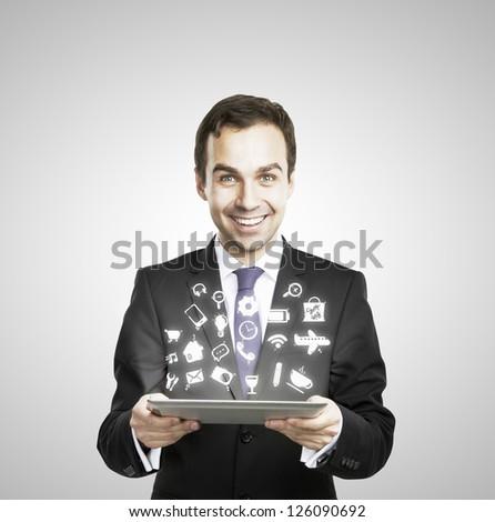 digital table in hand, social media icon - stock photo