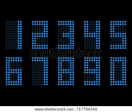 Digital table neon font with grid. LED nubmers