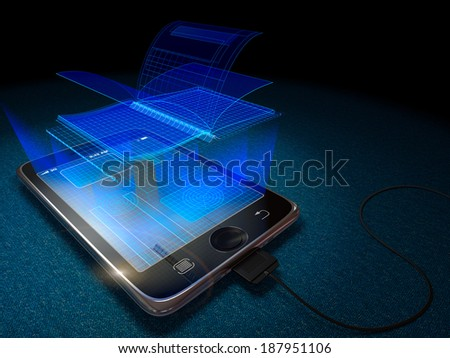 Digital tablet and book as progress concept background - stock photo