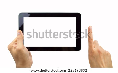 Digital tablet and hands with four clipping paths