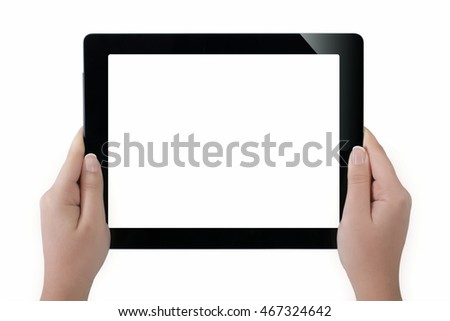 Digital Tablet And Hands With Four Clipping Paths.Isolated on white